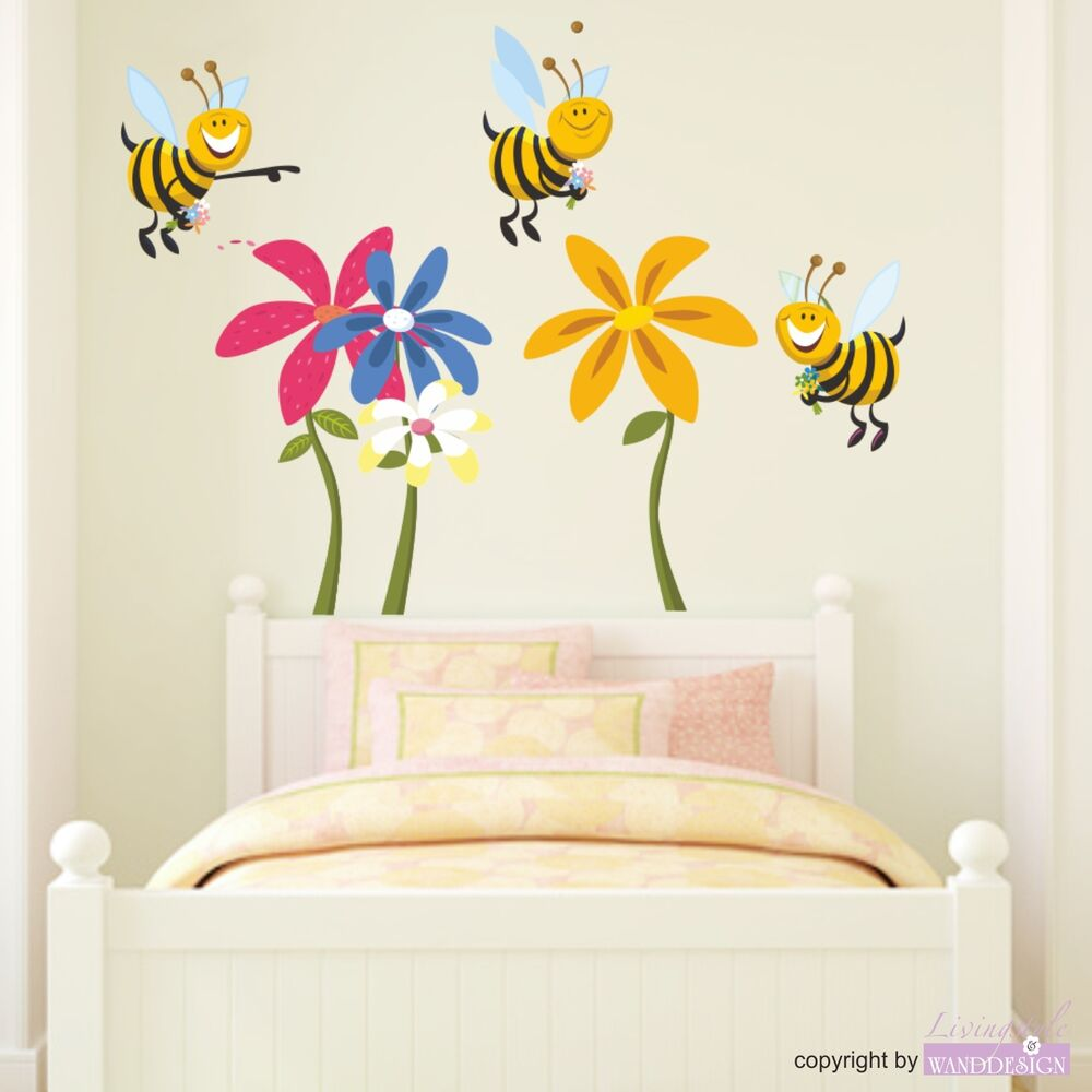 wandtattoo lustige bienen blumen bl ten sommer wiese kinderzimmer wandaufkleber ebay. Black Bedroom Furniture Sets. Home Design Ideas