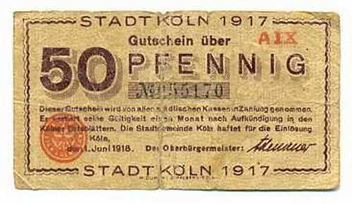 germany notgeld stadt k ln cologne 50 pfennig 1917 f signature of adenauer ebay. Black Bedroom Furniture Sets. Home Design Ideas
