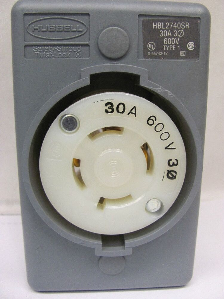 Hubble Hbl2740sr Receptacle Twist Lock L17 30 3 Pole 600v