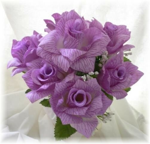 Open roses lavender lilac wedding rose bouquet silk
