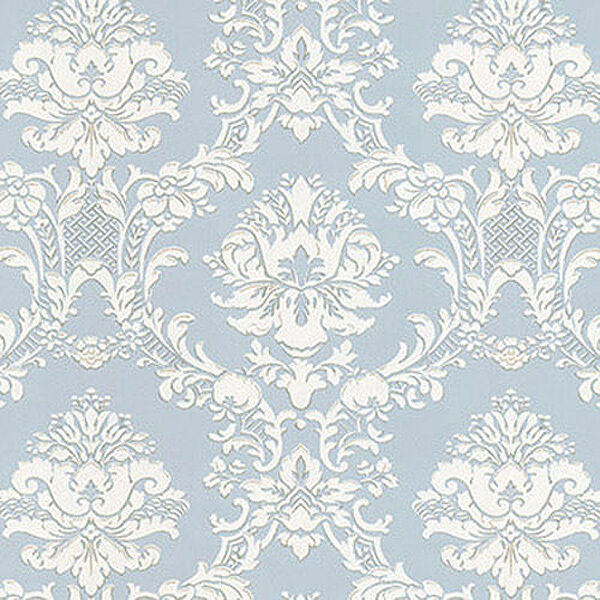 WALLPAPER SAMPLE Victorian Damask On Silvery Blue