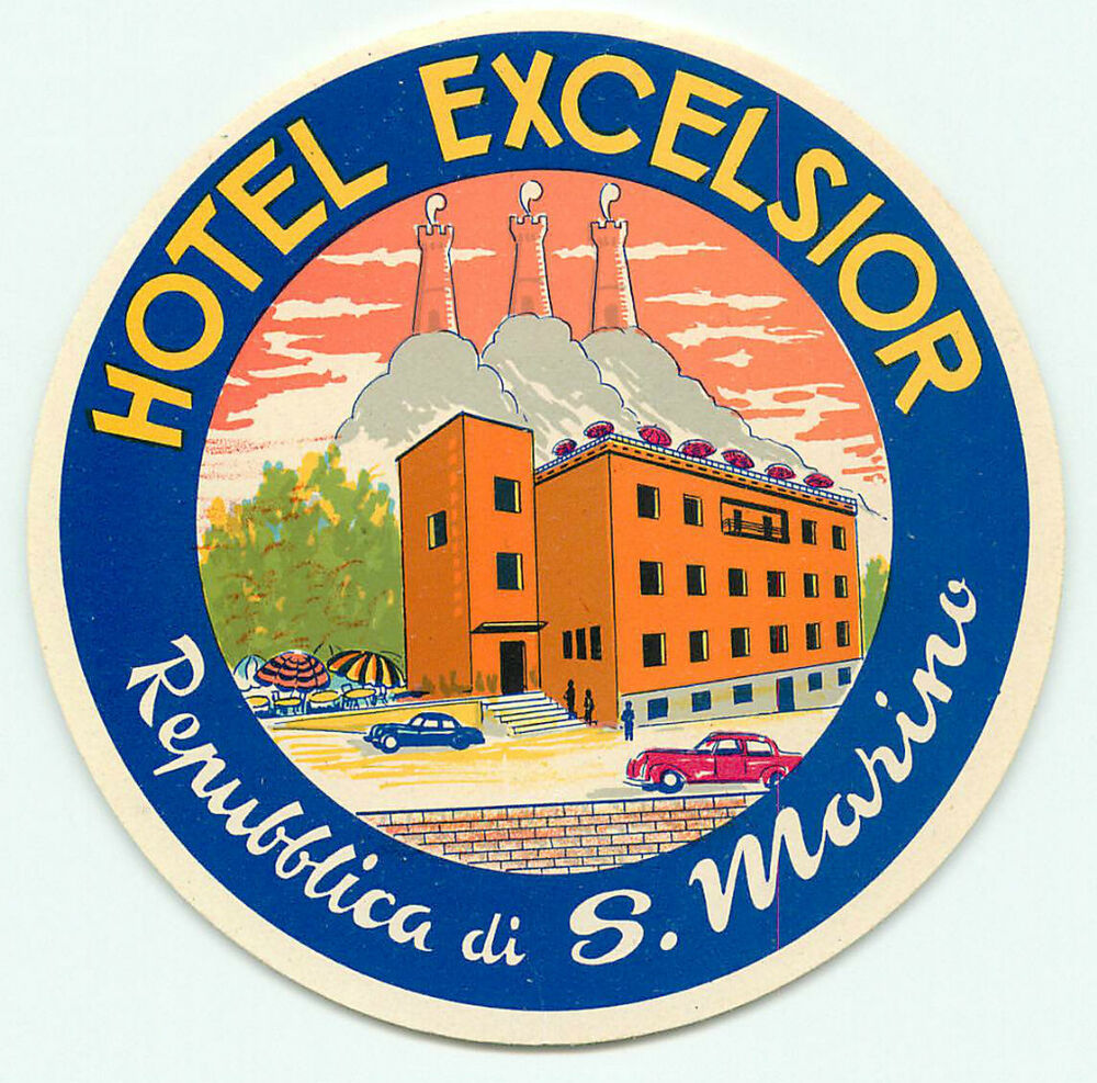 san marino hotel excelsior vintage art deco luggage label. Black Bedroom Furniture Sets. Home Design Ideas