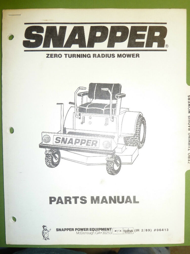 Snapper Zero Turning Radius Mower Parts Manual No 06413