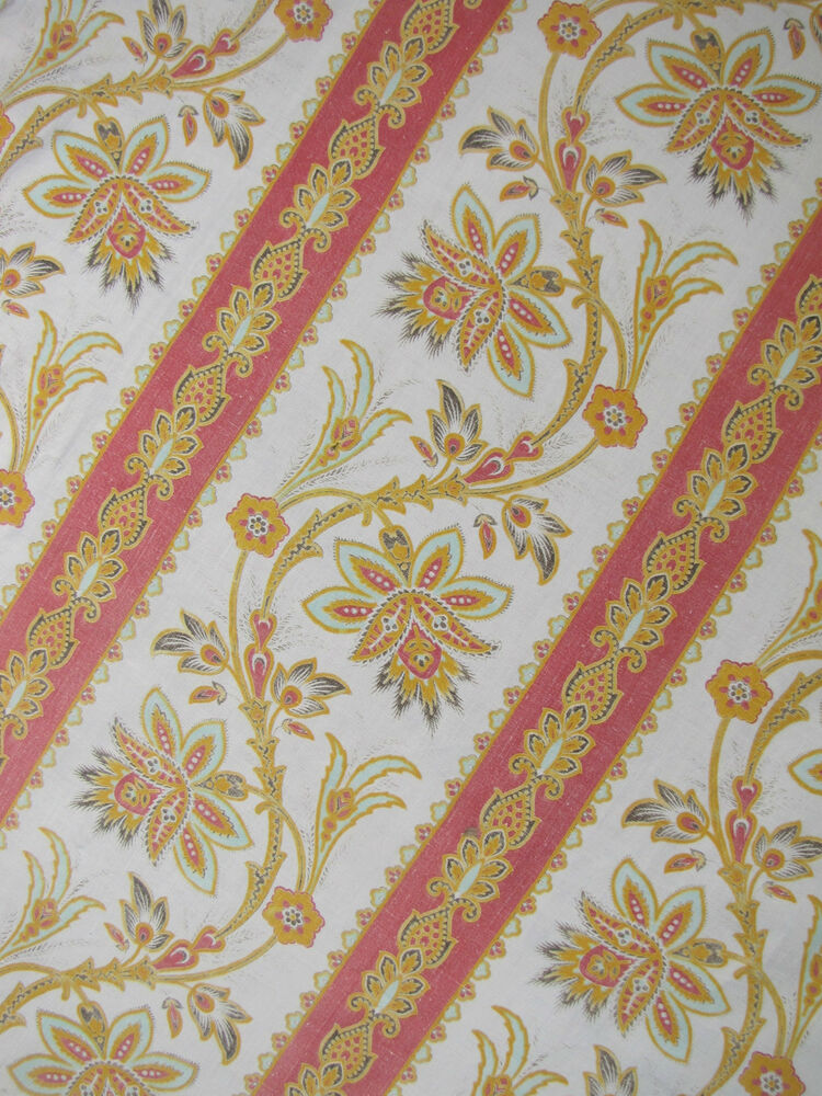 Antique french block printed cotton fabric indienne design for Printed cotton fabric