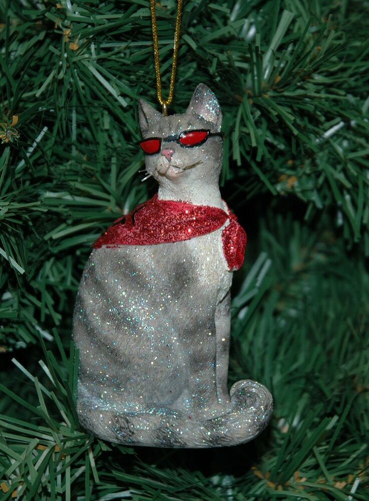 Cool cat kitten christmas ornament ebay for Cat christmas ornaments craft