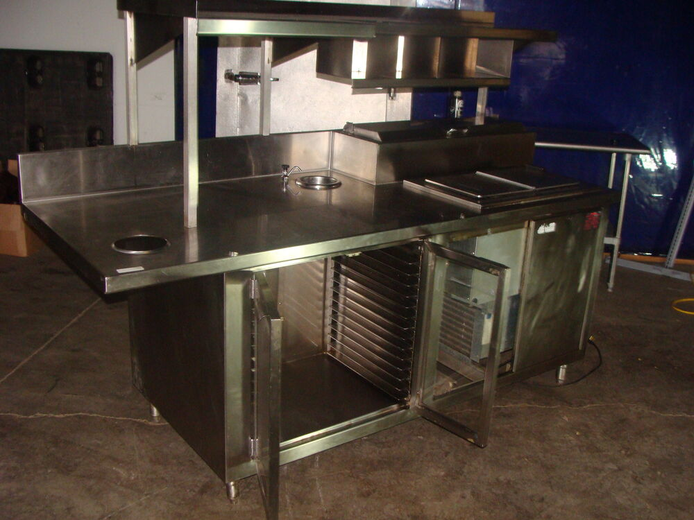 Stainless Steel Refrigerated Ice Cream Prep Table With
