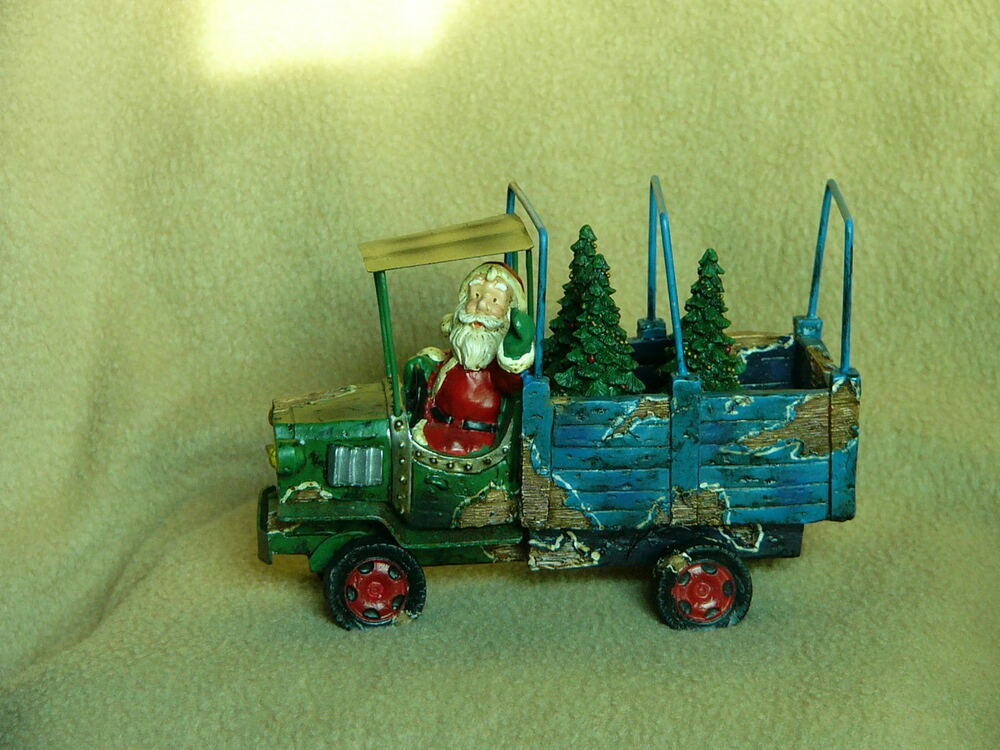 Santa Driving Old-Fashioned Stake Bed Truck W/Christmas
