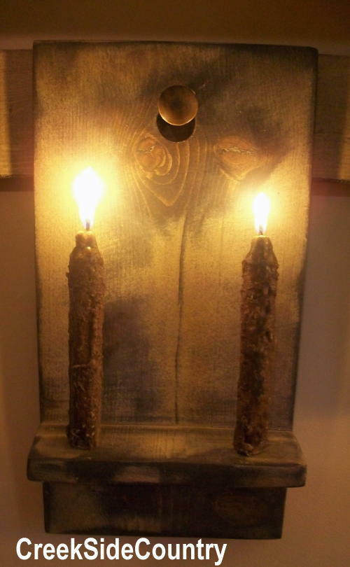 Primitive Wood Grungy Early Lighting Shaker Candle Holder