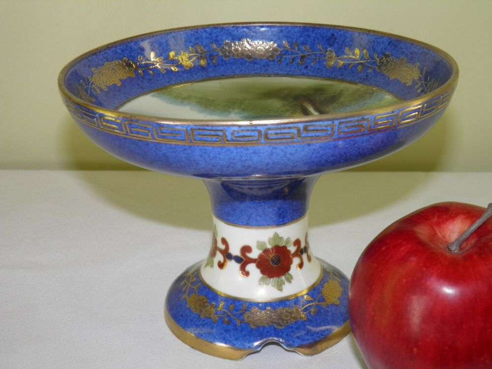 Antique noritake hand painted gilded cobalt blue