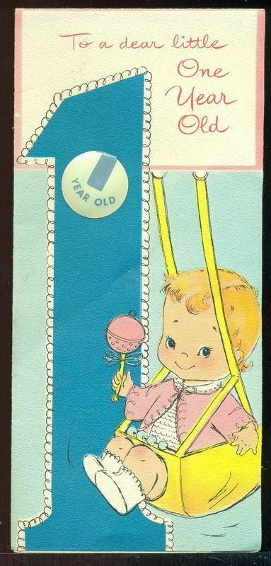 Details About Vintage Baby Birthday Greeting Card DEAR LITTLE ONE YEAR OLD Swing Button