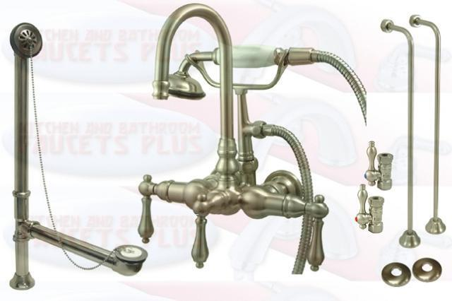Brushed Satin Nickel Clawfoot Tub Faucet Kit With Drain Supplies Floo