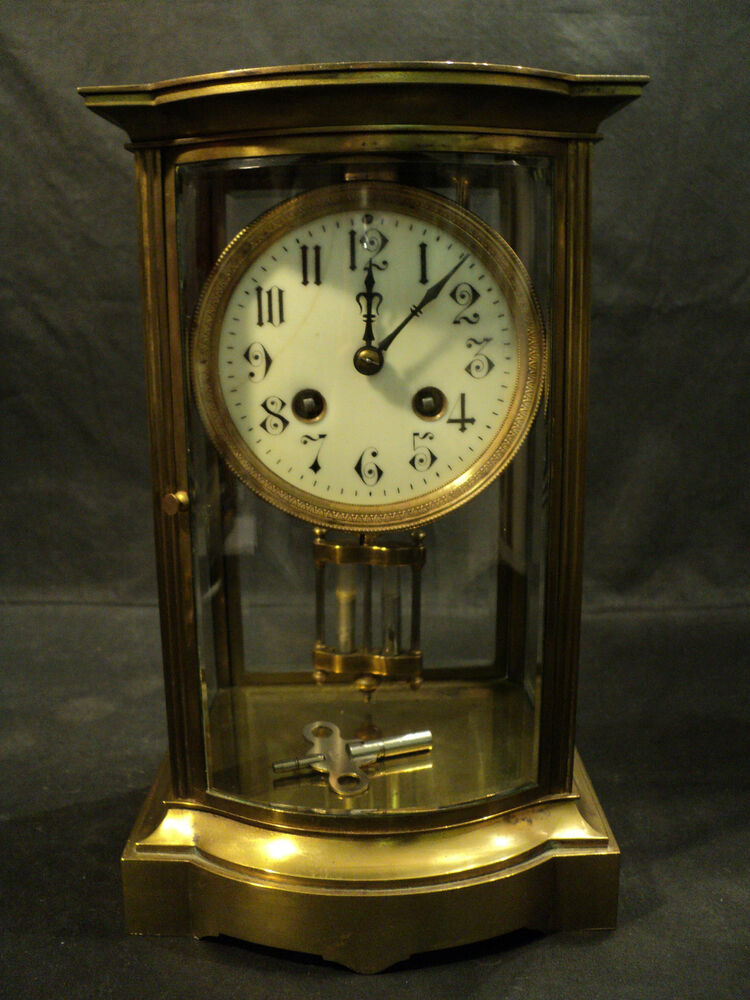 Gorgeous Antique French Crystal Regulator Clock  Bow Front