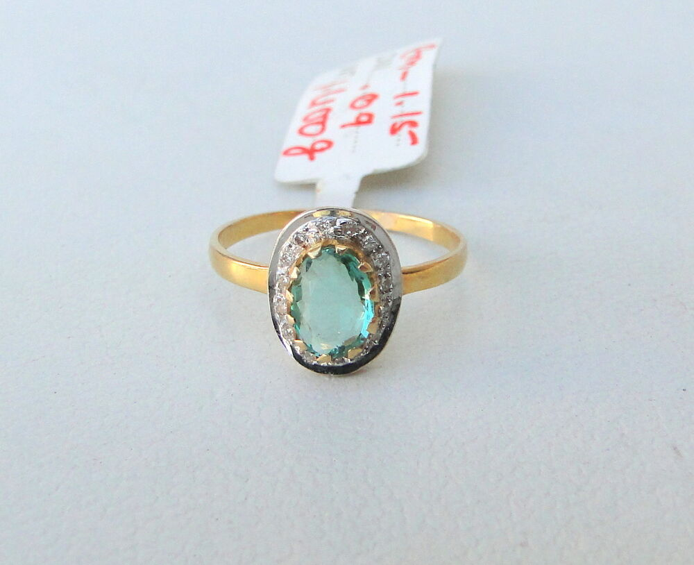 14k solid gold emerald gemstone ring