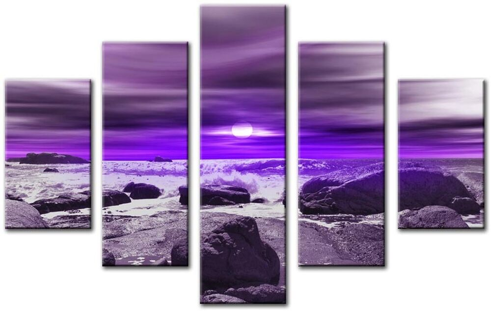 modern large 32 x 45 inch canvas wall art abstract purple seascape print 5 panel ebay. Black Bedroom Furniture Sets. Home Design Ideas