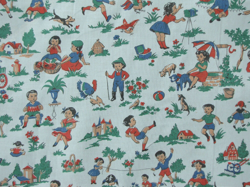 vintage french blue children 39 s fabric charming c1930