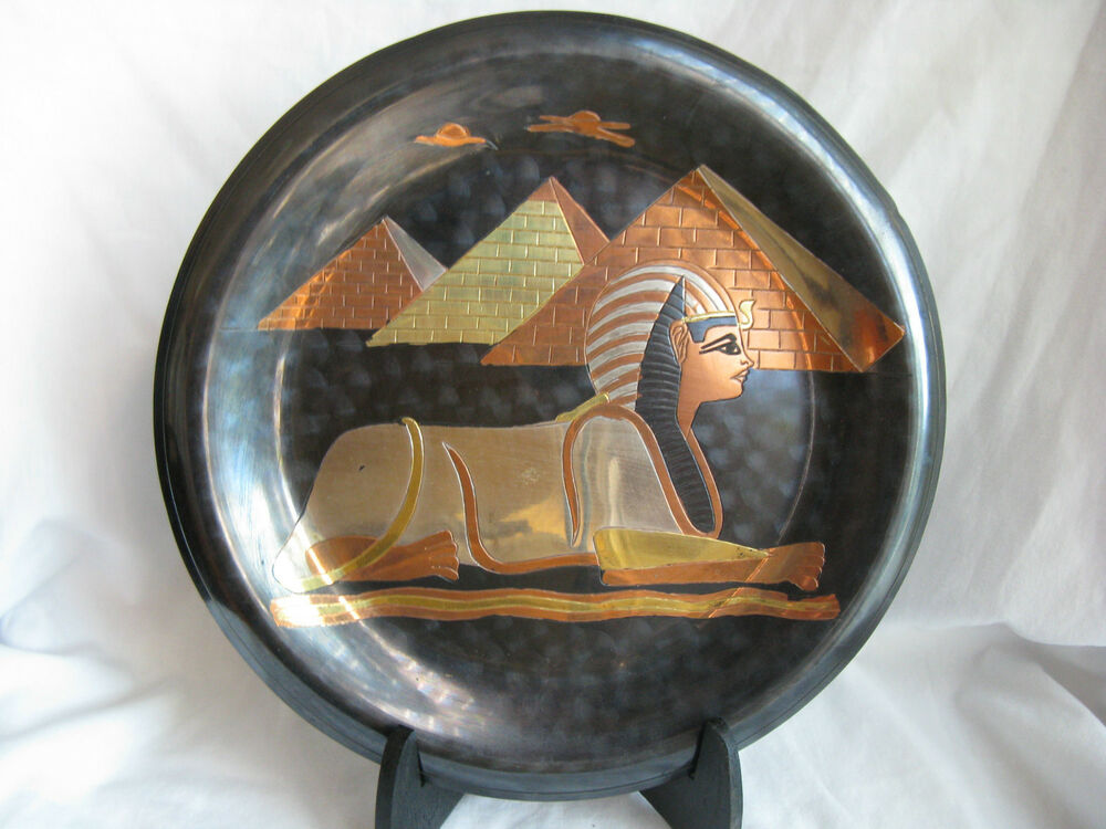 Wall Decor Silver Plates : Egyptian brass wall decor plate black pyramid sphinx