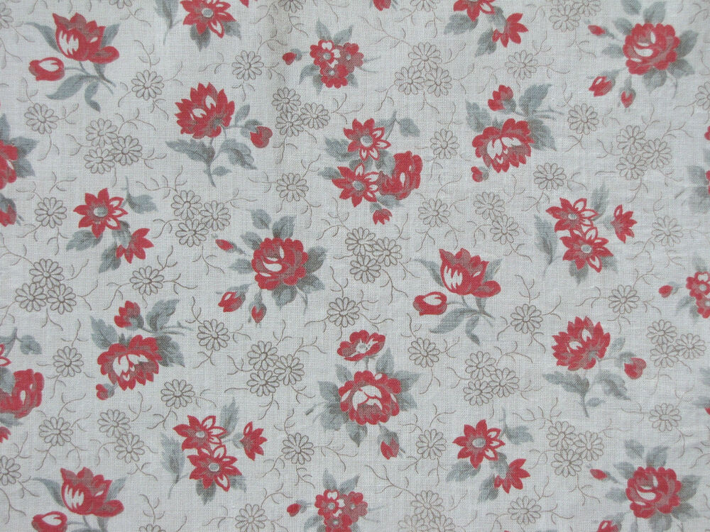 Vintage french printed cotton fabric c1930 floral roses ebay for Printed cotton fabric