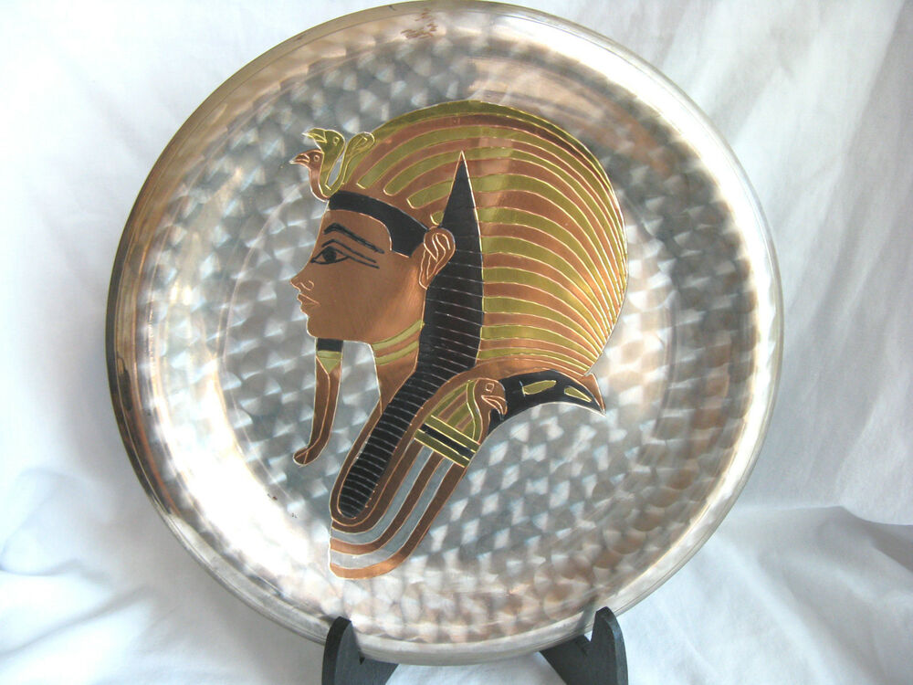 Wall Decor Silver Plates : Egyptian brass wall decor plate silver plated king tut