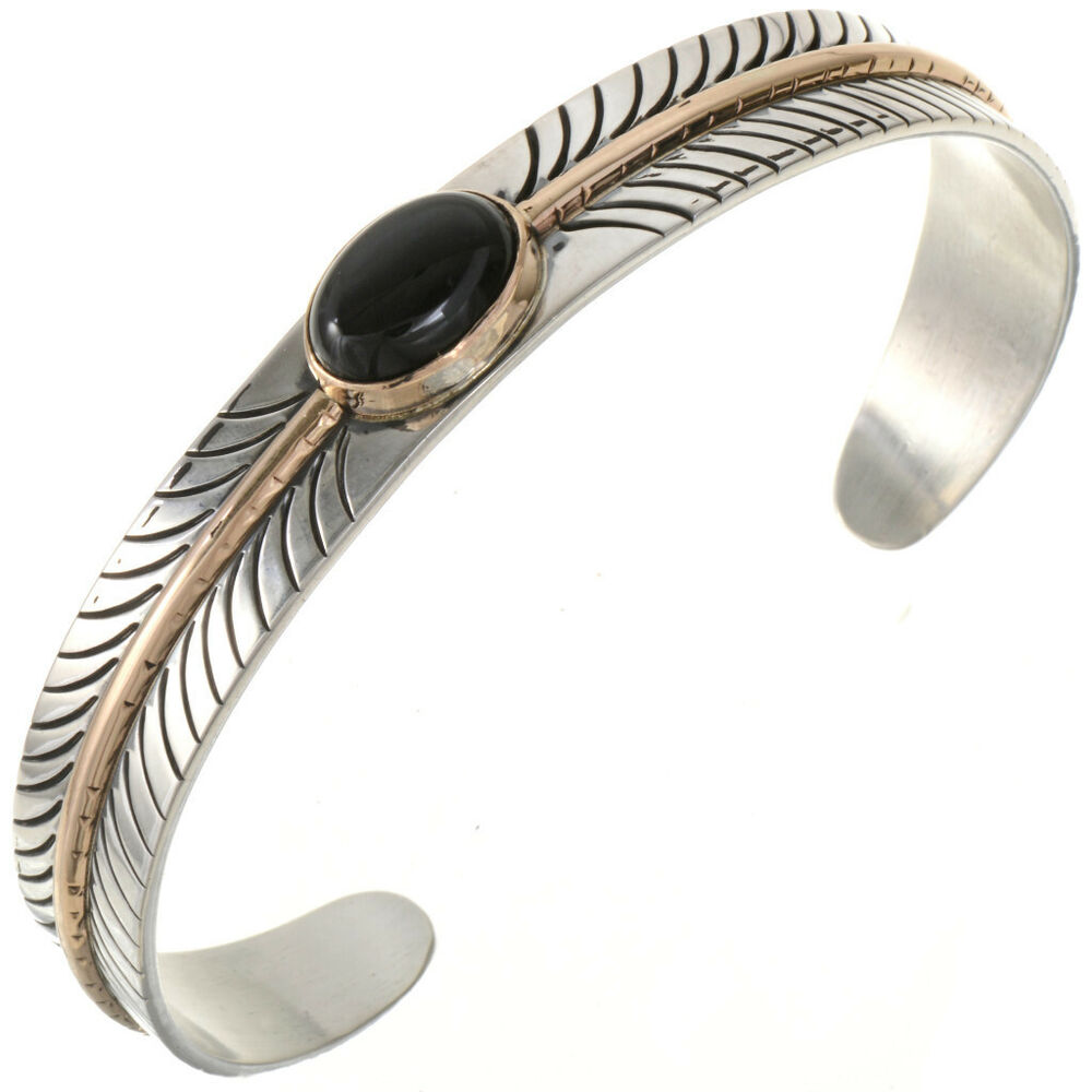 Navajo Black Onyx Feather Bracelet Sterling Silver 12kgf