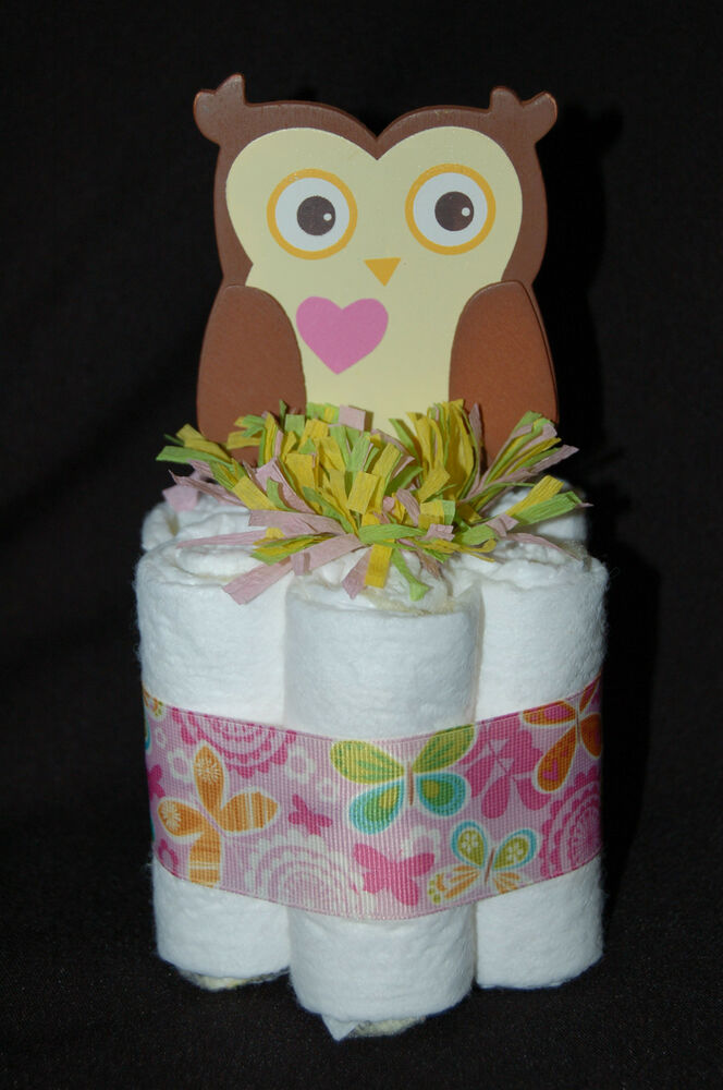 Mini diaper cake dena happi tree owl girls nursery decor for Baby owl decoration