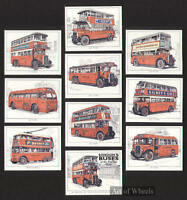 Old London Red Buses Trolleybus Print Trade Cards