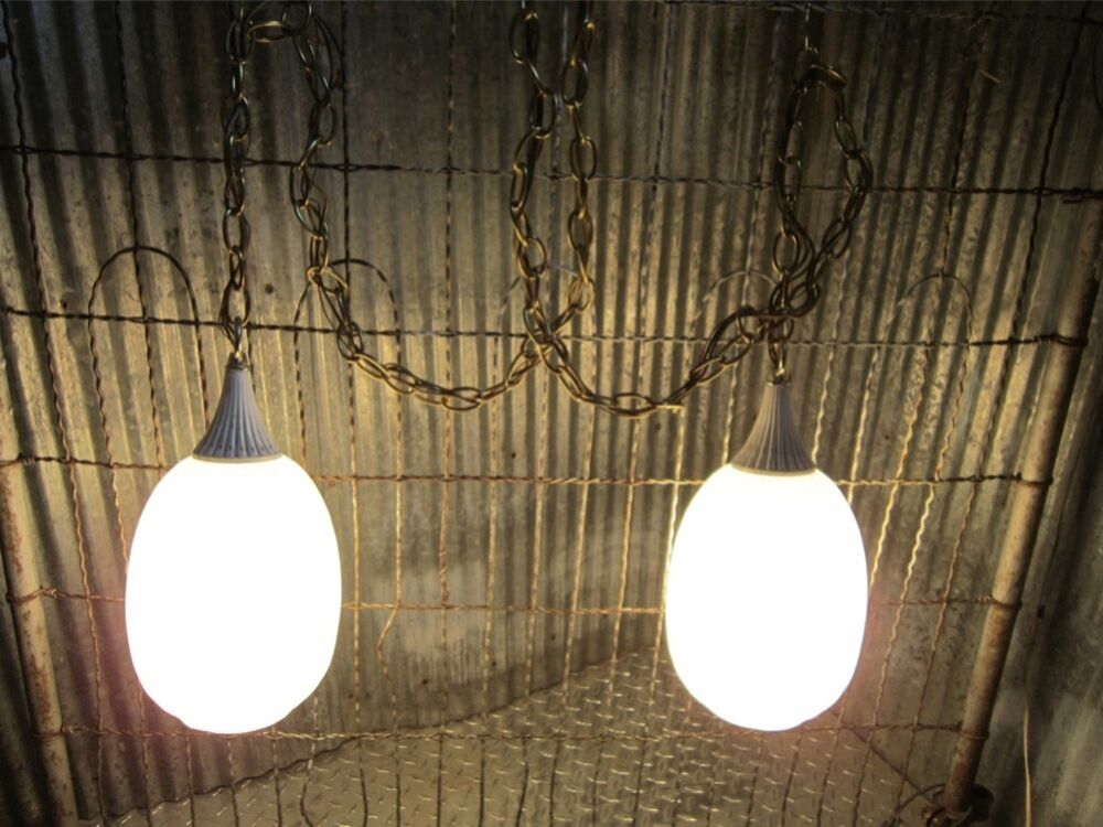 Vanity Hanging Lights : Hanging swag bathroom vanity light fixture white onion Mid century modern 60s eBay
