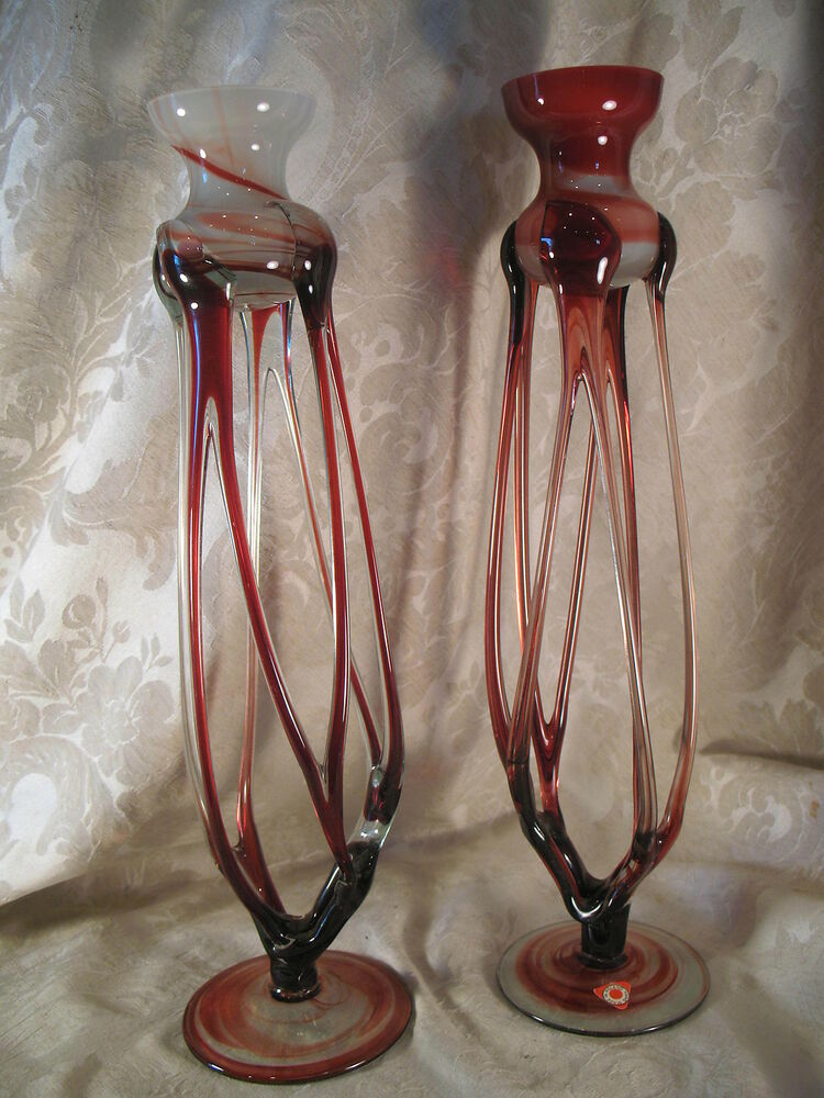 2 unique blown glass candle holders made in poland ebay for Creative candle holders