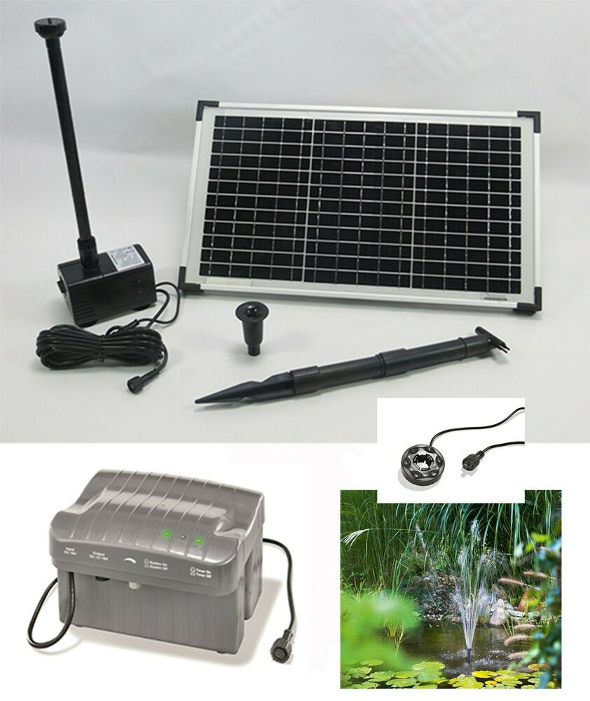 20w solarpumpe akku batterie solar pumpenset teichpumpe bachlaufpumpe solarmodul ebay. Black Bedroom Furniture Sets. Home Design Ideas