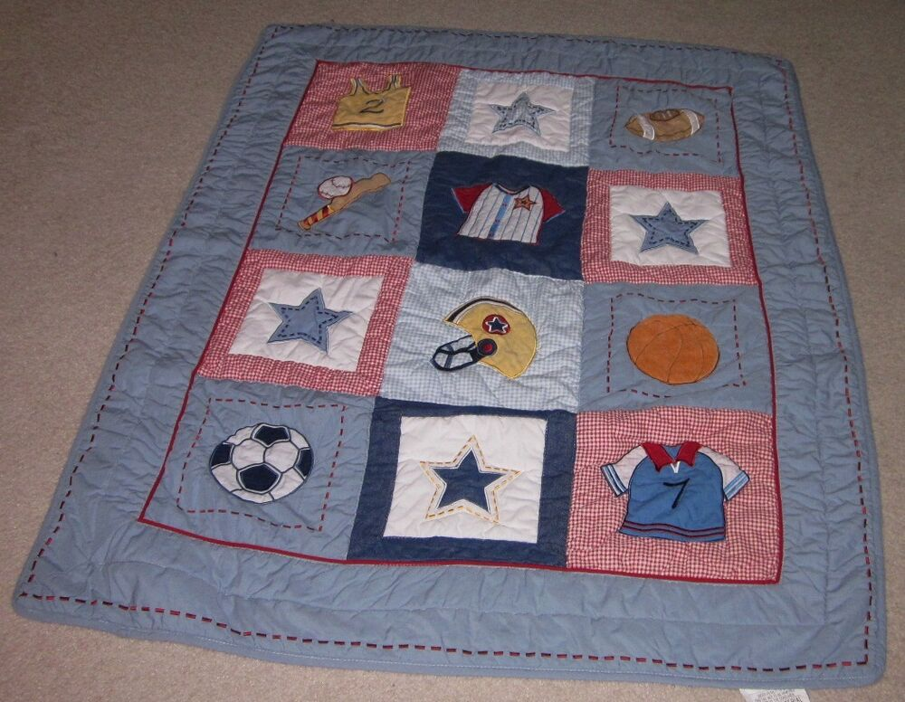 Bright Future Baby Boys Sports Comforter Blue Red Quilt Ebay