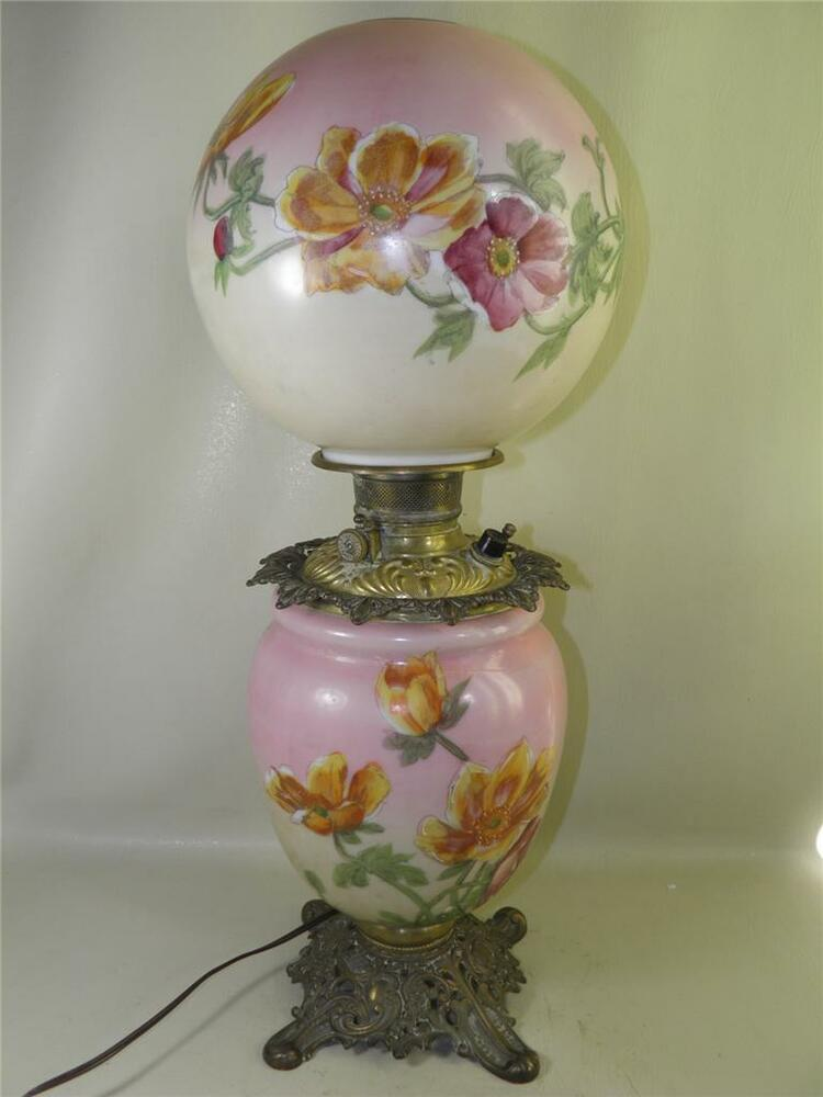 Antique Gone With The Wind Signed Phoenix Floral Oil Lamp