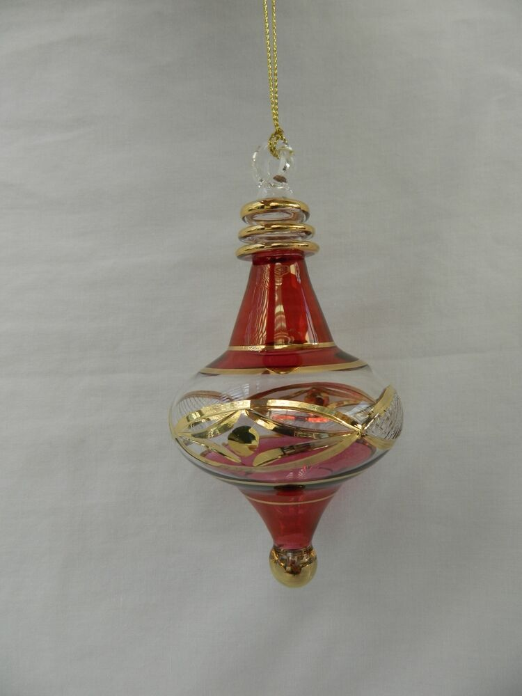 Egyptian Handmade Glass Christmas Ornament Unique 138u