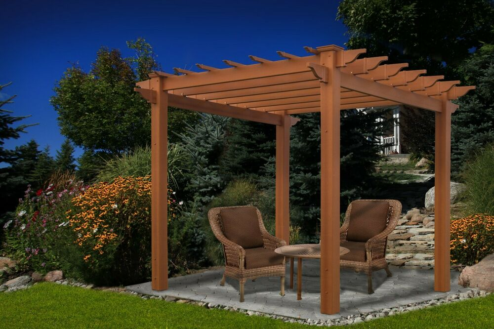 new england arbors decorative lakewood wood grain vinyl garden patio spa pergola ebay. Black Bedroom Furniture Sets. Home Design Ideas