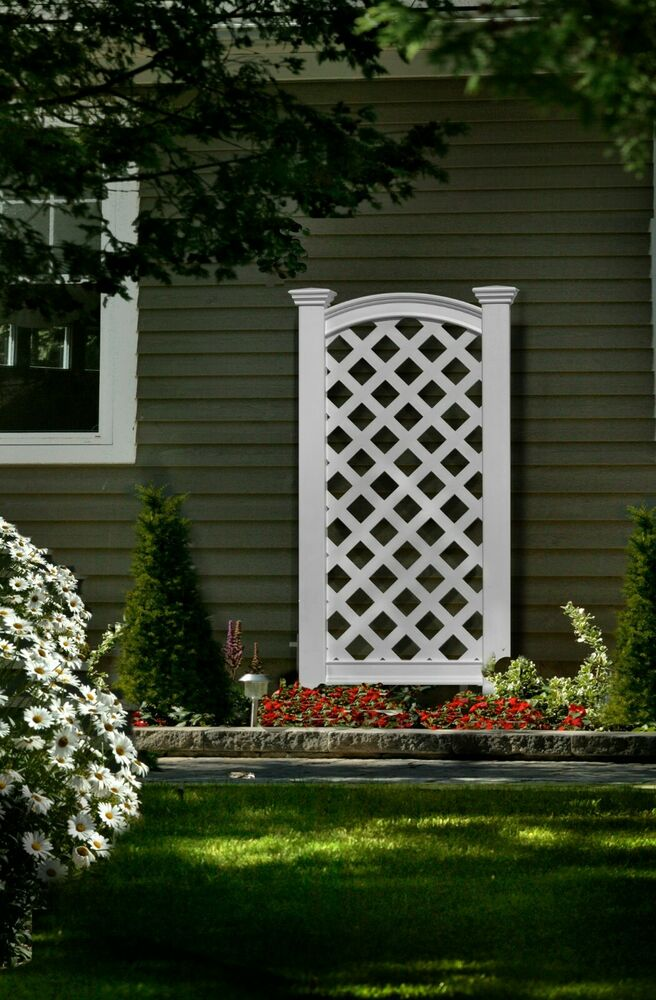 New england arbors decorative outdoor vinyl luxembourg for Lattice yard privacy screen