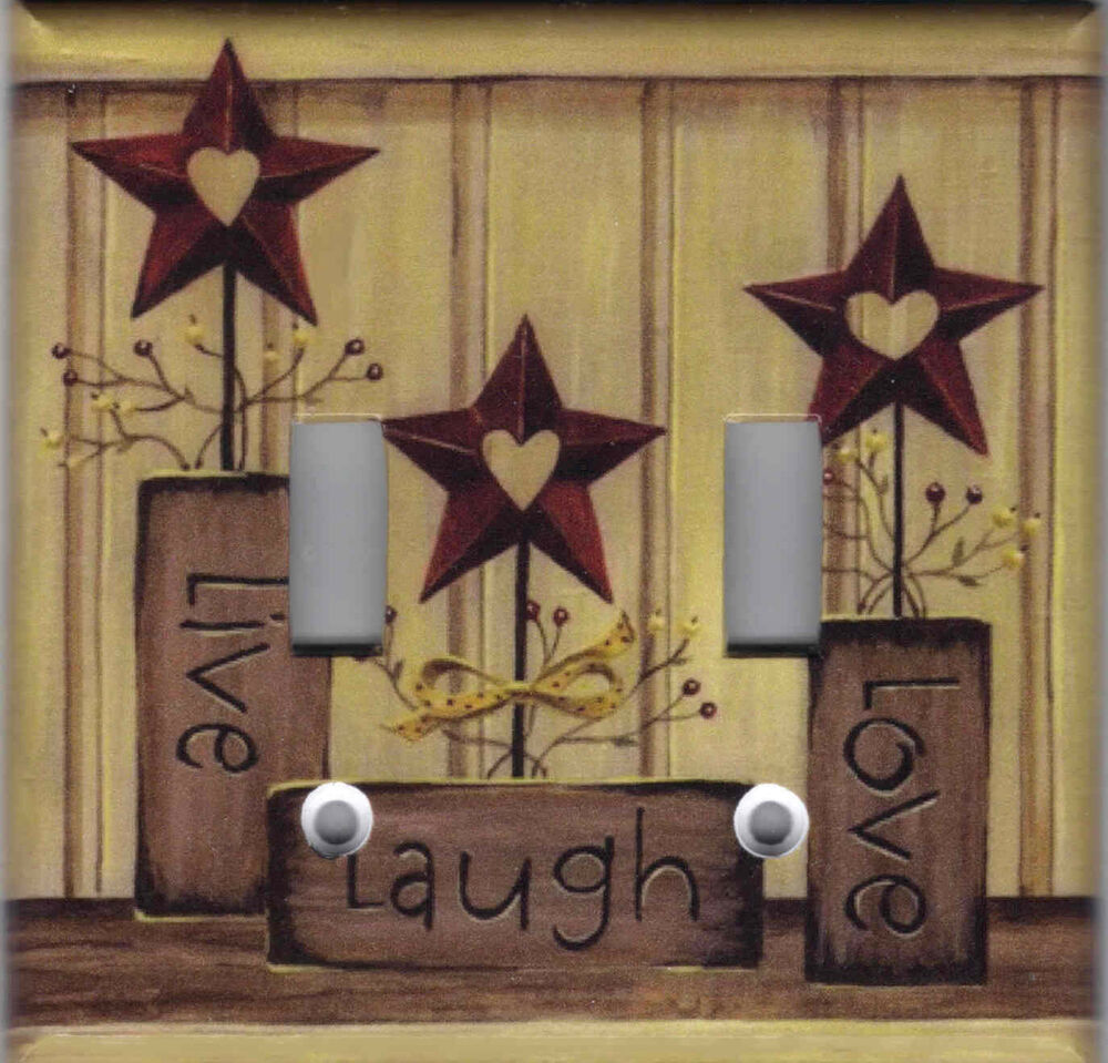 Country barn star live love laugh home decor double light for Star decorations for home