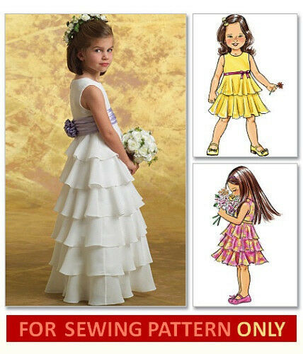 Sewing Pattern Makes Fancy Flower Girl Dress Child Sizes