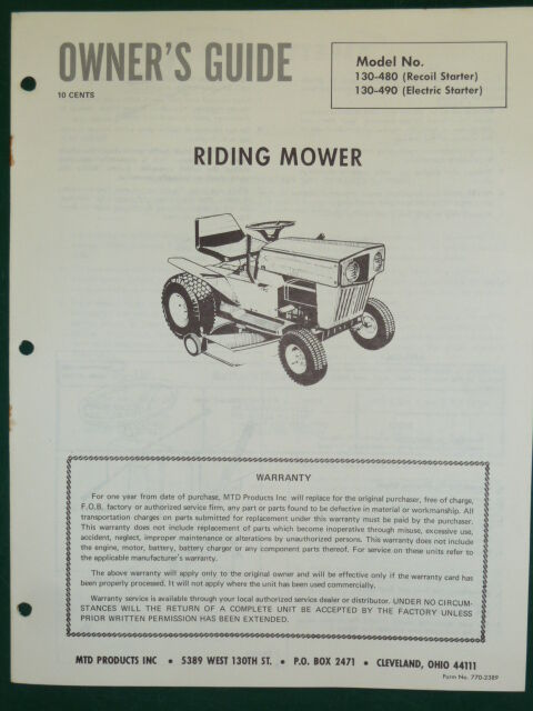 Mtd Tractor Manual : Vintage mtd riding mower owners manual parts list model