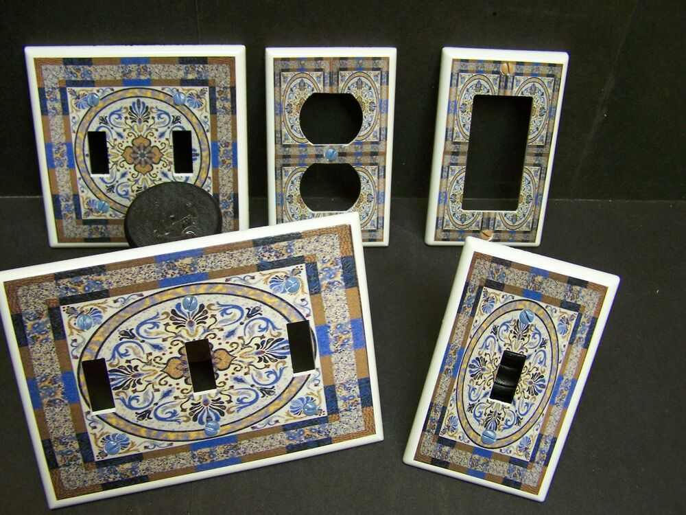 Floral Tile 10 Blue And Browns Light Switch Or Outlet