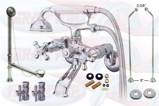Polished Chrome Clawfoot Tub Faucet Package Kit With Drain Supplies S
