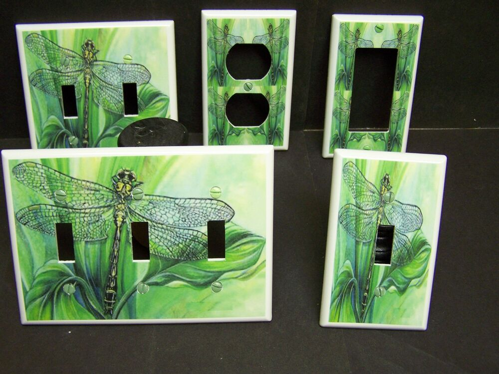 Dragonfly 2 Shades Of Green Light Switch Or Outlet Cover