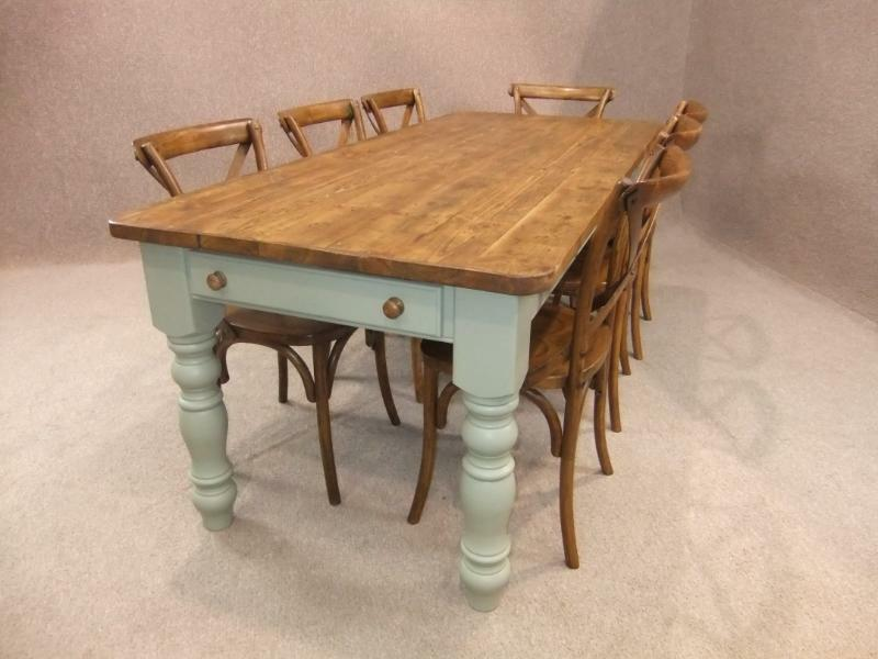 4FT RECLAIMED PINE FARMHOUSE KITCHEN TABLE WITH A PAINTED BASE WINCH BE