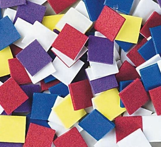 100 foam mosaic square craft shapes 1 2 square self for Best glue for craft foam