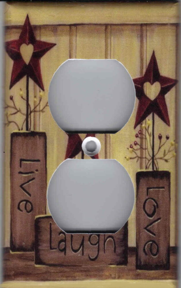 country barn star live love laugh home wall decor outlet cover ebay. Black Bedroom Furniture Sets. Home Design Ideas