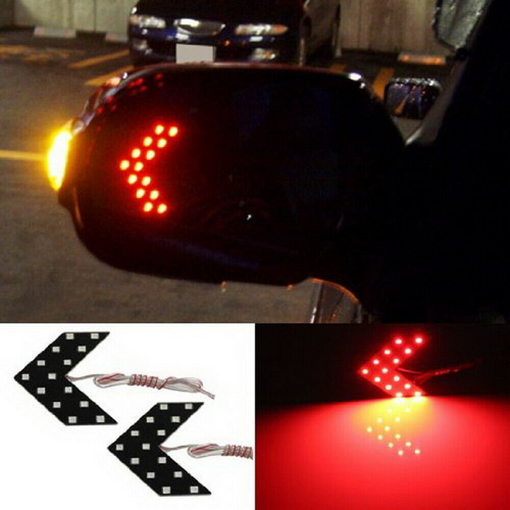 2 Red 14 Smd Led Arrow Lights For Car Side Mirror Turn