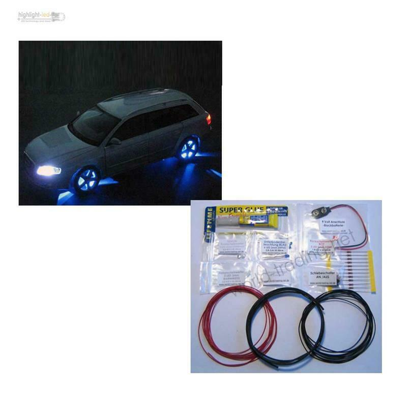 led modellauto beleuchtung bausatz 37 teilig xenon tuning kit ebay. Black Bedroom Furniture Sets. Home Design Ideas