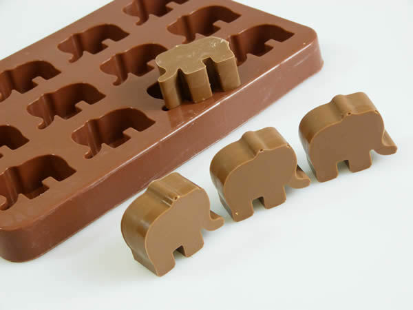 12 Elephant Chocolate Candy Cupcakes Topper Silicone