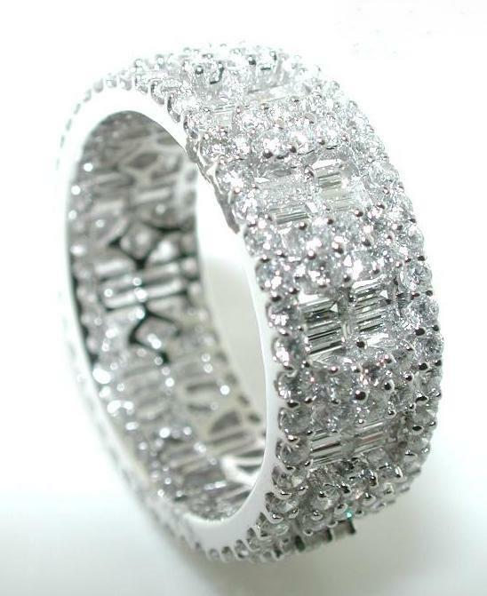 2 61ct Mosaic Diamond Eternity Band Round Baguettes 18k Ebay