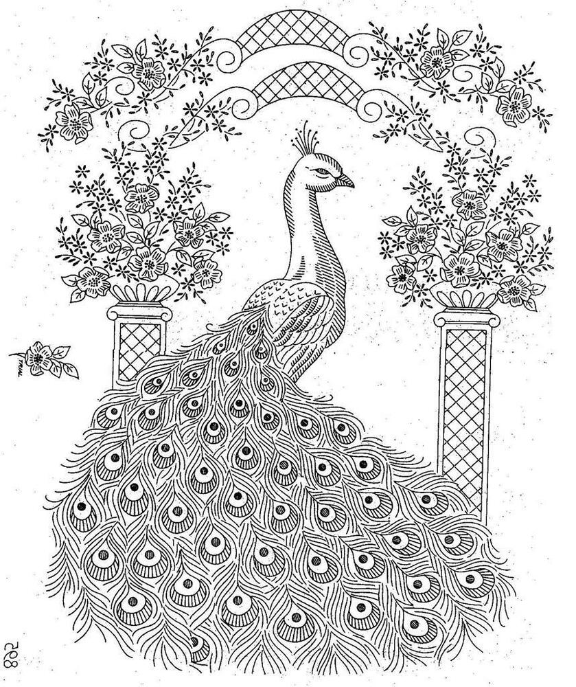 Hand Embroidery Pattern 895 Elegant Peacock For Bedspread