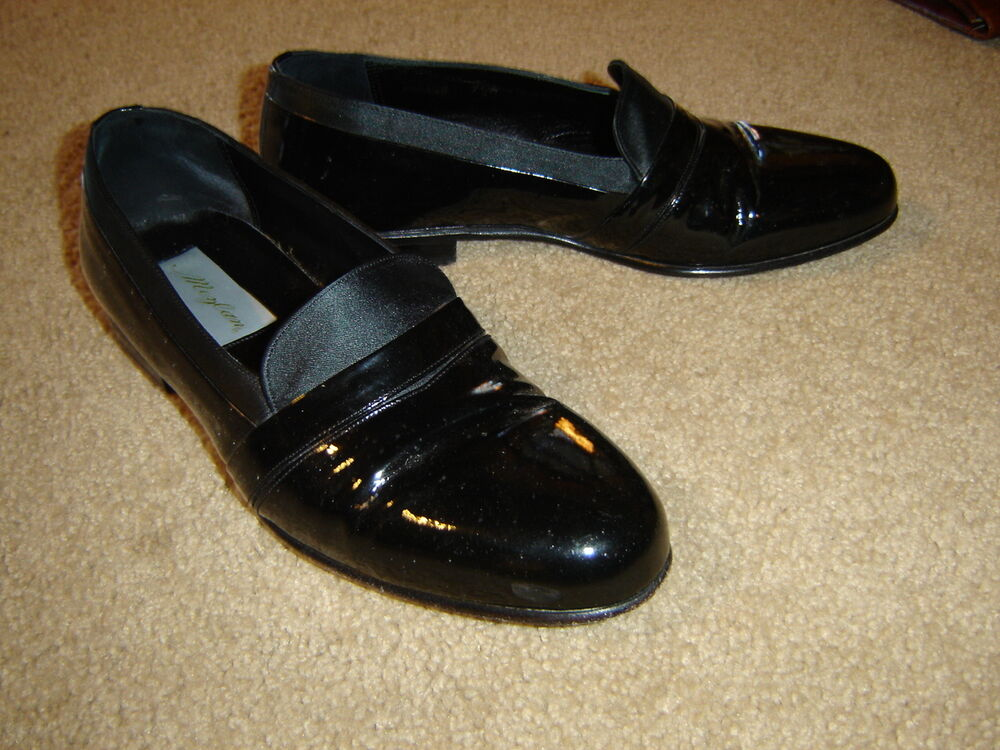 mezlan s black patent leather tuxedo shoes loafer