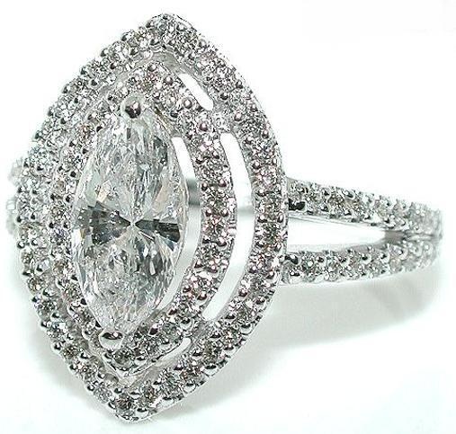 1 7 ct double halo marquise diamond engagement ring 14k ebay. Black Bedroom Furniture Sets. Home Design Ideas