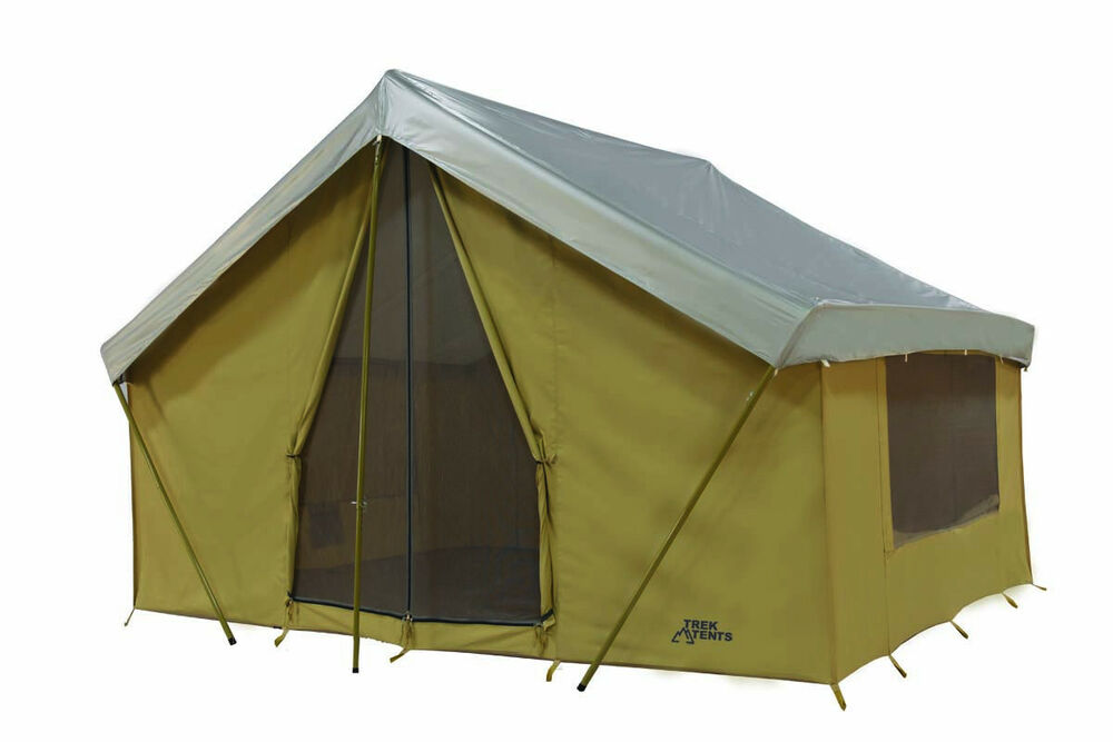 New trek 14 39 x 10 39 canvas tent with custom fly cover ebay for How to make a canvas tent